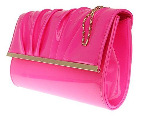 Girly HandBag übergroß Lack Kunstleder Handtasche Abend Clutch Fuchsie