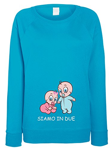 4c97d11287beb2 L'Arcobaleno di Luci Women's Maternity Sweatshirt Blue Turquoise Large