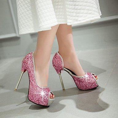 CH&TOU Da donna-Sandali-Casual Serata e festa-Plateau-A stiletto-Lustrini-Nero Rosa Bianco pink