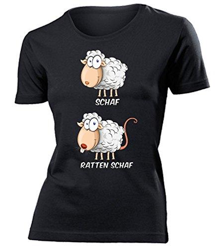 Schaf Ratten Schaf 5954 Wortspiel Zweideutig Damen Fun-T-Shirts Schwarz L
