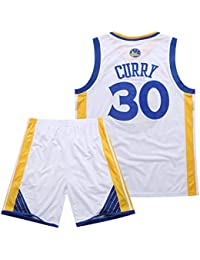 Traje de Baloncesto de Verano de la NBA Warriors Curry 30th Jersey Bordado,White,