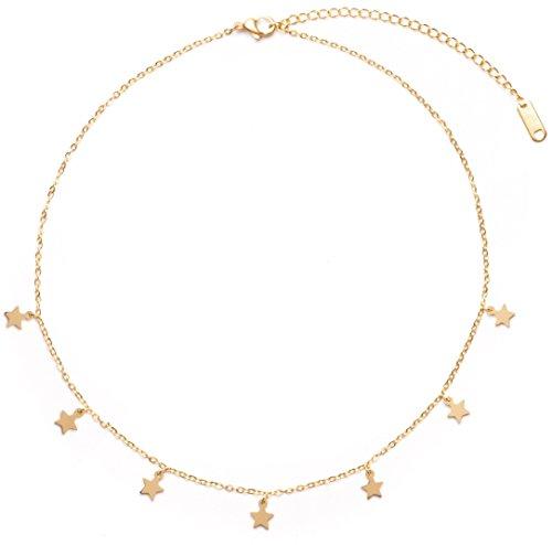 Happiness Boutique Damas Collar de Estrella en Color Oro | Collar Delicado con Colgantes de Estrella Pequeña