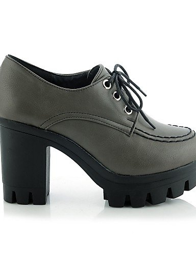 ZQ hug Scarpe Donna-Scarpe col tacco-Ufficio e lavoro / Casual-Tacchi / Plateau-Quadrato-Finta pelle-Nero / Grigio , gray-us9 / eu40 / uk7 / cn41 , gray-us9 / eu40 / uk7 / cn41 gray-us6.5-7 / eu37 / uk4.5-5 / cn37