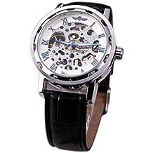 Winner Ganador Clasico Esqueleto Dial Mano Devanado Mecanico Deporte Ejercito Reloj por Hombre Hollow Transparente Dial con Banda de la correa de cuero Blanco & Azul
