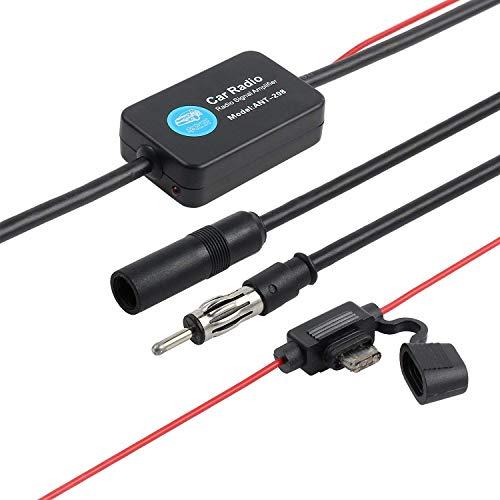 Auto Radio Antenne Signal Booster Verstärker, Universal Auto Auto Antenne Radio Signal AMP Verstärker FM Booster Verstärken 25db 12 V mit 3M Klebstoff Papier & Lock Quick Splice