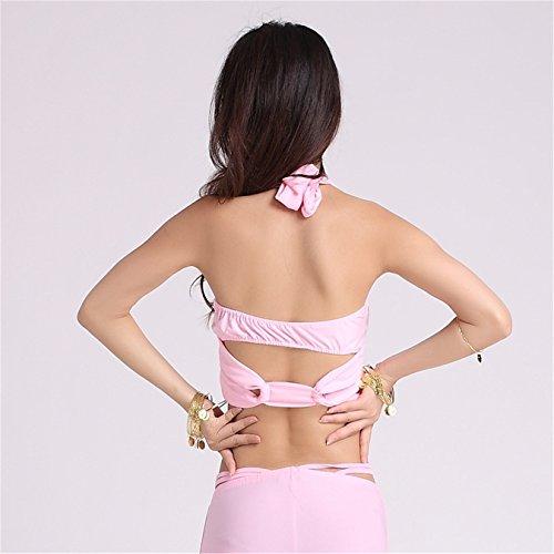 Women Sexy Dance Tops Bauchtanz Costume Tribal Embroidered Bandage Halter Bra-Top Dancewear Light Pink