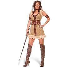 Disfraz de vikinga - vestido corto para mujer, con mangas y bajo de pelo, marrón - 44/46