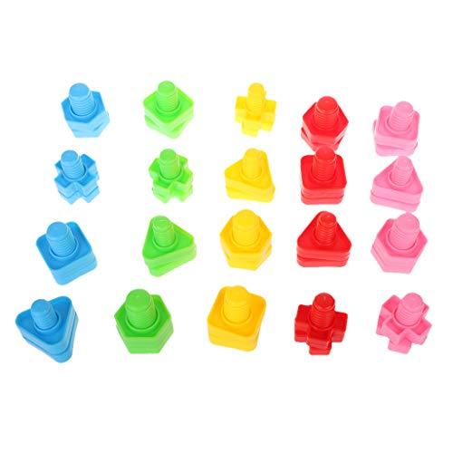 JAGENIE 40 unids Montessori Tornillo Bloques de Construcción Bloques de Inserto De Plástico Juguetes de Forma de Nuez Juguetes Educativos Niñas Juguetes para Bebés Juguetes para Niños Pequeños