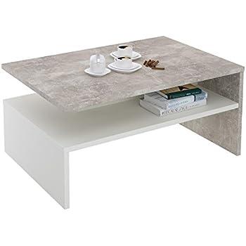 CARO Möbel Couchtisch PAULINA Beistelltisch Wohnzimmertisch In Beton  Optik/weiß Mit Ablagefach 90 X 60 Cm