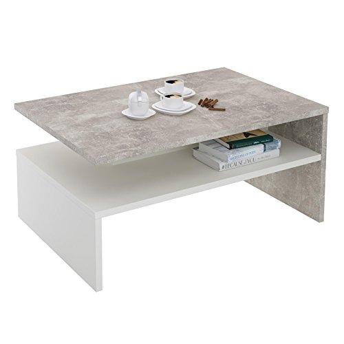 CARO-Möbel Couchtisch Paulina Beistelltisch Wohnzimmertisch in Beton Optik/weiß mit Ablagefach 90 x 60 cm - Mittlere Rechteckige Couchtisch
