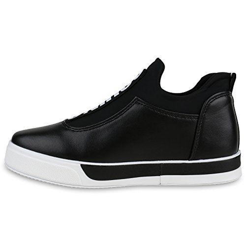 Damen Sneakers Slip-ons Mini-Keilabsatz Prints Sportschuhe Schwarz