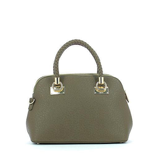 Liu Jo Damen Anna Shopper Tote, Braun (Pale Brown Metal.), 16,5x24x33 cm grey_taupe, grau