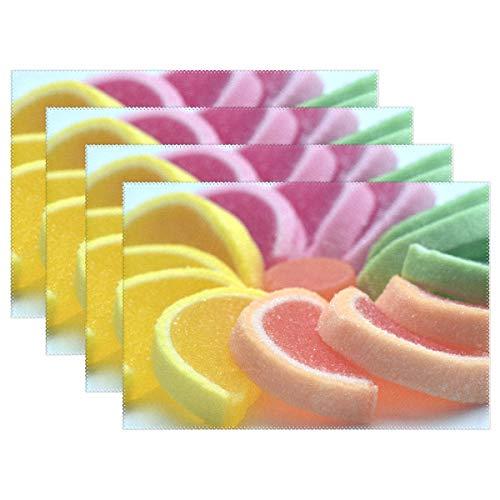 Lennel Tischsets mit Buntem Zucker, personalisierbar, Bedruckt, waschbar, Tischsets für Esszimmer, Küche, Tischdekoration, 30,5 x 45,7 cm, 1 Stück, bunt, 12x18x1 in (Einweg-kinder-tischsets)