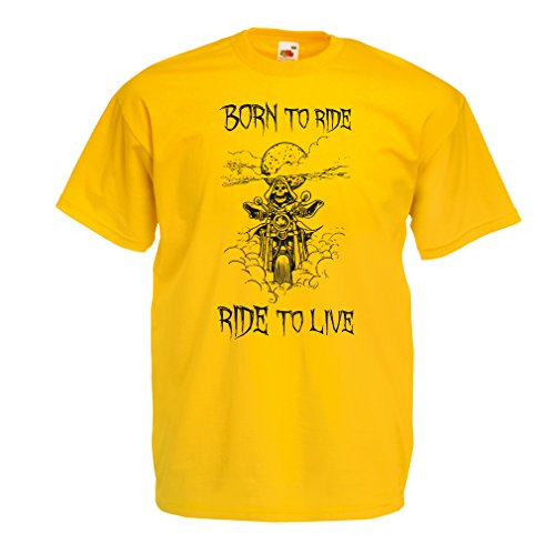 N4690 T-Shirt da Uomo Born To Ride! Motorcycle Clothing (Medium Giallo Multicolore)