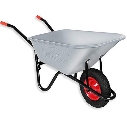 Gardebruk Schubkarre 100 Liter | bis 250kg | Luftreifen mit Stahlfelge | verzinkt | Bauschubkarre Gartenschubkarre -
