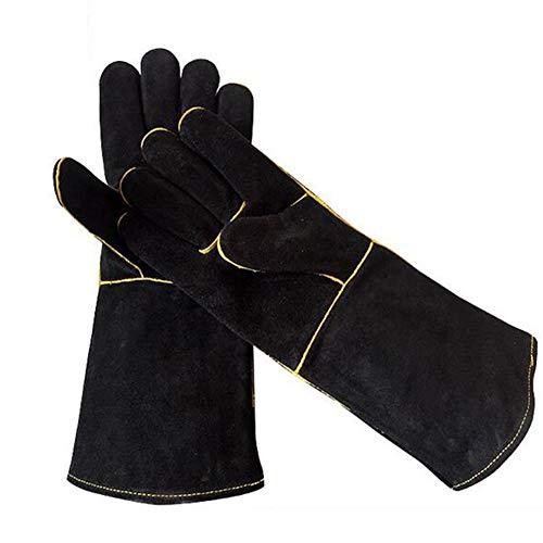 LAIABOR Fire Handschuhe Schweißhandschuhe Leder Grill Mikrowelle Isolierhandschuhe Für Kamin Ofen Herd Grill Schweißen BBQ MIG