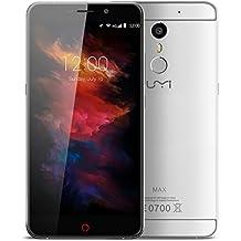 "UMIDIGI  Max - Smartphone libre 4G LTE Android 6 (Pantalla 5.5"" IPS, 16GB ROM + 3GB RAM, Octa-Core, Cámara 13 Mp, Sensor de huellas dactilares, Resolución de 1920 x 1080, OTG, WiFi), Plateado"