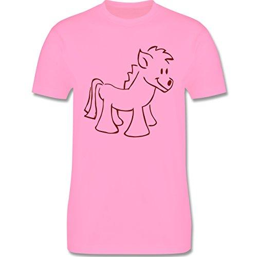 Pferde - Pony - Herren Premium T-Shirt Rosa
