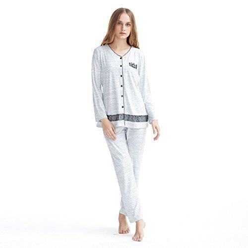 ladies cotone pigiama set/ manica lunga striscia pigiama casual/Elegante pizzo Cardigan pulsante home service pacchetto A