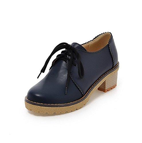 VogueZone009 Femme Rond à Talon Correct Matière Souple Couleur Unie Lacet Chaussures Légeres Bleu