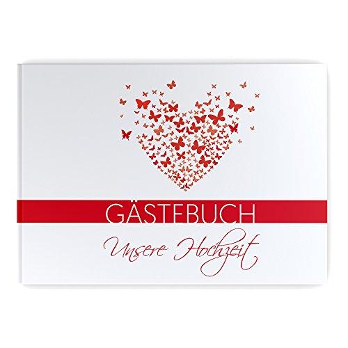 Gästebuch Hochzeit mit Fragen Hochzeitsgästebuch Hochzeitsalbum butterfly heart Hardcover rot