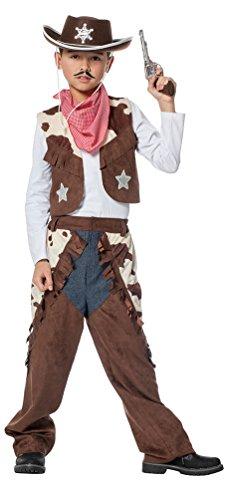 Karneval-Klamotten Cowboy Kostüm Kinder Jungen Western-Kostüm braun Cowboy-Weste inkl. Hose und Schal Größe ()