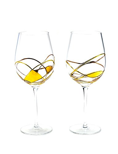 Antoni Barcelona großes Weinglas Luxus–Gold lackiert–Set 2–Einzigartige...