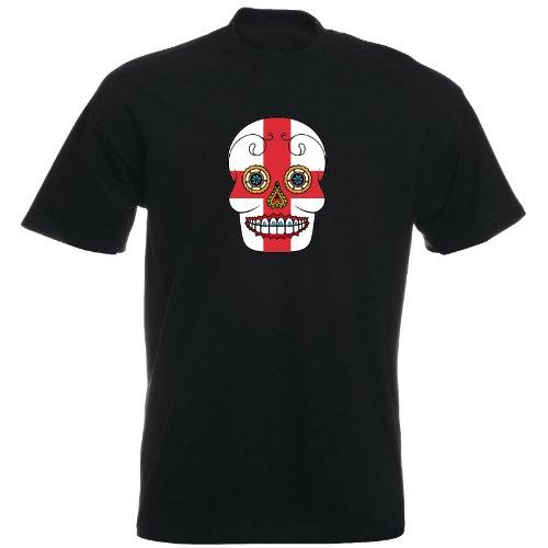 T-Shirt - England - Sugar Skull - Fahne - Herren - unisex Schwarz