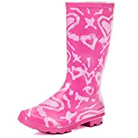 SPYLOVEBUY Kids Girls Boys Flat Festival Wellies Rain Boots Pink Heart Sz 4