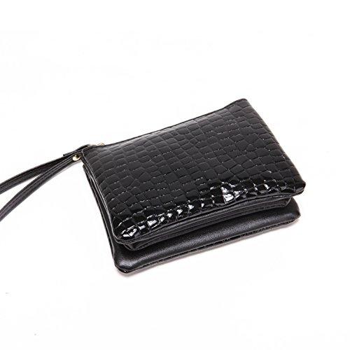 Pratico portafoglio breve signore nero modello di pietra/Pochette/ versatile borsa-A A