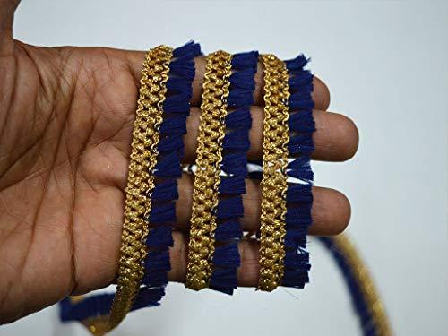 0,8 cm 2,3 m Metallic Marineblau Gold Fransen Home Decor Spitze indisches Hochzeitskleid Fransen...