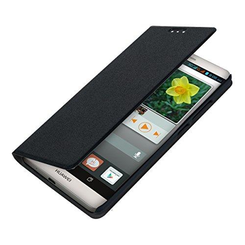 kwmobile Flip Case Hülle für Huawei Ascend Mate 7 - Aufklappbare Schutzhülle Tasche im Flip Cover Style in Schwarz