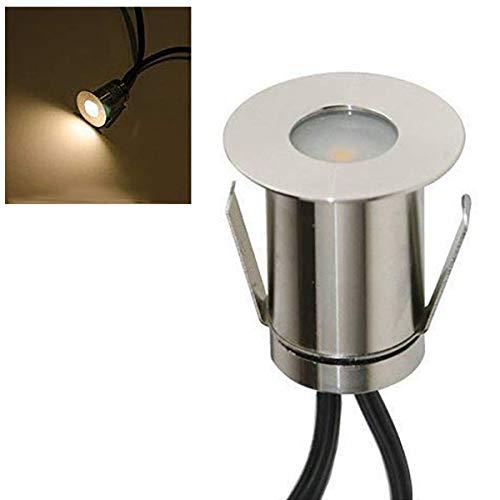 VBLED® Mini Boden-Einbaustrahler 0.3W LED, Warm-weiß, 14 Lumen, IP67 wassergeschützt, Edelstahl - Rostfrei & Robust - Einfache Montage in Terrassen, Steinen, uvm (Einzel - ohne Netzteil)