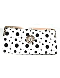 DALLIANCE Black & White Multi Functional Mobile Clutch Case, Glittered Printed Design, Universal Wallet Case Luxury...