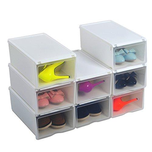 Uuhome scatola porta scarpe stabile borse portascarpe salvaspazio plastica trasparente per uomo - Portascarpe salvaspazio ...