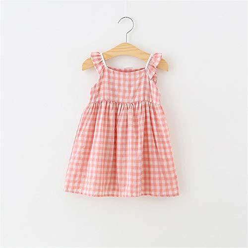 Summer Children Dress Plaid Girls Dresses Sleeveless Cotton Kids Dresses for Girls Fashion Children Sundress Girls Clothing Light Brown 3T (Junior-elmo Shirt)