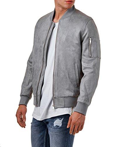 EightyFive Herren Bomber-Jacke Übergangsjacke Schwarz Khaki Camouflage EFS150, Größe:S, Farbe:Grau Suede - 2