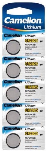 Lithium-Knopfzelle CAMELION CR-2025 3,0V, 5er-Blister (Knopfzelle 2025 Lithium-batterie)