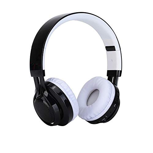 HONG-YANG Digitale KANEN AB005 Tuner Bluetooth Kopfhörer LED Lightheaded Faltbare Stereo-Headsets Mit Mikrofon MP3-Player (Color : White)