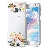 OKZone Galaxy S7 Edge Hülle [mit HD-Schutzfolie], [Blumen Series] Transparent Weiche Silikon Malerei Muster Hülle TPU Bumper Case Blühende Blumen Design Schutzhülle für Samsung Galaxy S7 Edge (Gelb)