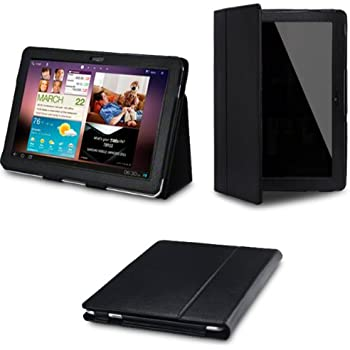 Samsung Galaxy P7510 TAB 10.1 'BLACK' Leather Case Cover and Flip Stand Wallet Plus Free Bonus Screen Protector - iZKA® One Stop Shop For All Your Accessory Needs