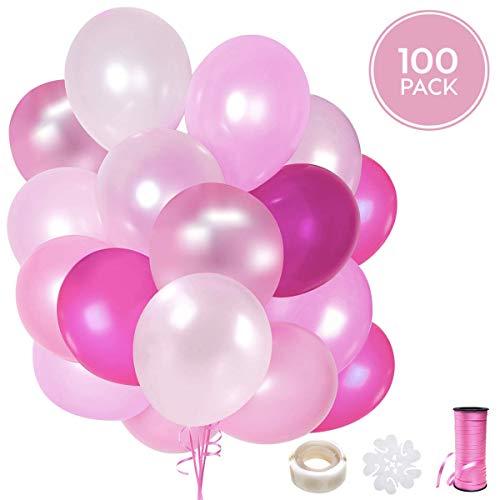 100 palloncini rosa in lattice + nastro rosa + supporti + adesivi da muro per palloncini | 5 colori misti | pink party, matrimonio, battesimo e compleanno | 30 cm | elio o aria