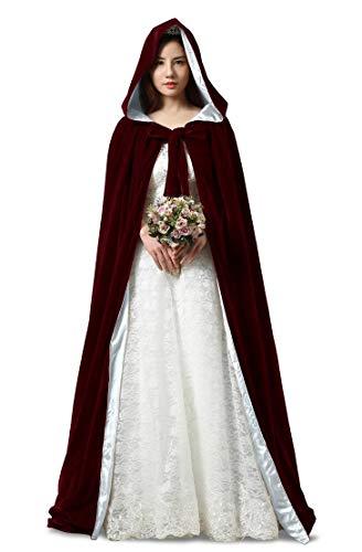 ShineGown Halloween Cosplay Mantel mit Hauben Burgund Lange Damen Hochzeit Braut Kap Mittelalter Kostüm SAMT Unisex Erwachsene Kinder Verrücktes ()