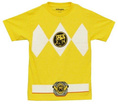 The Power Rangers Gelb Rangers Kostüm Erwachsene T-shirt Tee (X-Large)