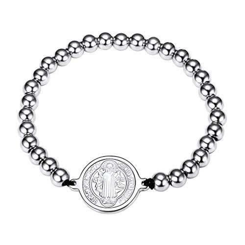FaithHeart Armkette Heilige Armband silber 925 Rosenkranz Edelstahl Schmuck Schutzpatron Benedikt Medaille Einstellbar
