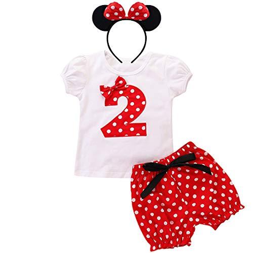 der Mädchen 2 Jahre Zweiter Geburtstag Party Minnie Kostüm Outfit Retro Gepunktet Sommer Kurarm Top T Shirt + Shorts Kurze Hosen + Ohr Stirnband 3tlg Bekleidungsset 18-24 Monate ()