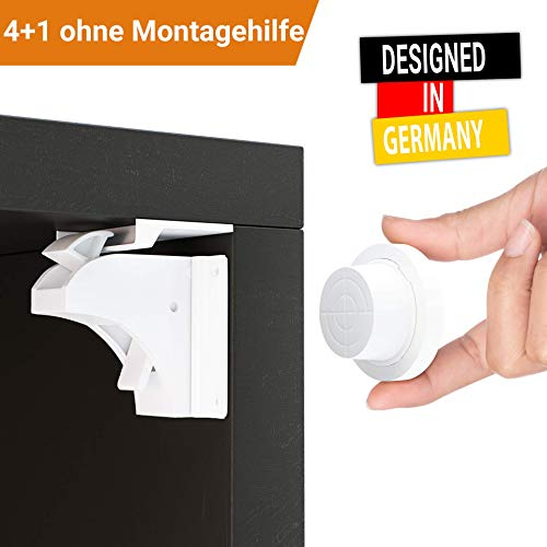 Magnetische Kindersicherung Schrank und Schubladen von Avantina® - 4 x Schranksicherung - unsichtbare Kindersicherung - Kinder-sicherung für Küchen (Kuchen Videos)