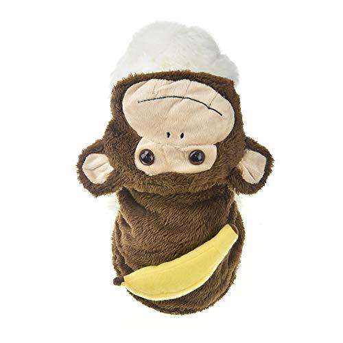 MUYAOPET Muyaotet Halloween-Kostüm für Kleine Hunde, lustige Hundejacke, Kleidung bei kaltem Wetter, M, Brauner AFFE