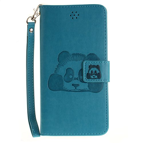 Coque iPhone 6 Plus/iPhone 6s Plus, Forhouse 3D Panda En Relief Flip PU Cuir Wallet Case Fonction Stand[Card Cash Slots][Dragonne]Doux TPU Interior Magnetic Closure Portefeuille Coque Bookstyle Anti-R Bleu Ciel