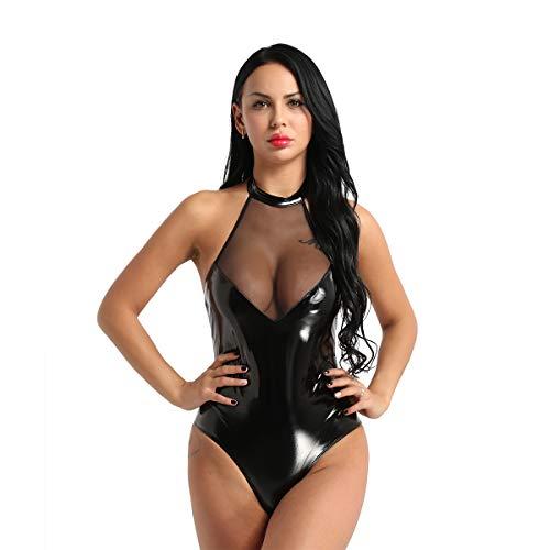 CHICTRY Damen Body Ärmellos Wetlook Bodysuit Catsuit schwarz Glänzenden Leder-Optik Dessous Unterwäsche Clubwear mit Neckholder (Medium, Schwarz mit Mesh) (Die Schwarzen Bodysuit Glänzenden)